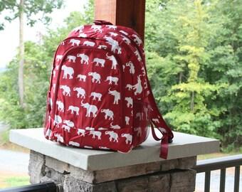 Personalized Red Elephant Backpack Elephant Print Monogrammed Bookbag