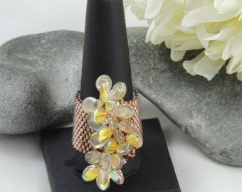 Statement Ring - Golden Petals - Peyote