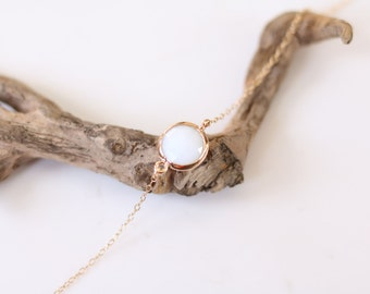 White Jade Bracelet - Charm Bracelet - Gemstone Bracelet - Gold Bracelet - Bright - Arm Candy - Jade - White Jade - Stacking Bracelet