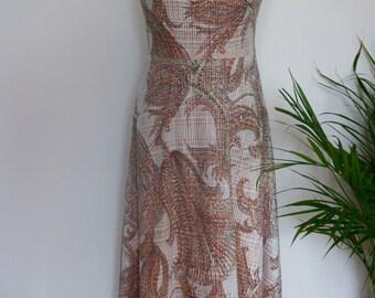 Special long seventies boho dress with sheer orange and white. Eu 38