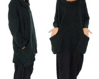 HP600GN sweater 80% wool & polyester 20 Gr. 42, 44, 46, 48, 50, 52 green Boucle plus size layer look