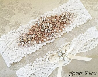 Rose Gold Garter, Rose Gold Wedding garter set, Rose Gold Bridal Garter, Rhinestone Rose Gold Garter, Ivory Garter, Blush Garter