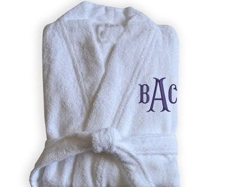 Personalized White Bath Robes, Monogrammed Spa Robe, Bridesmaid Gift, With Embroidery, Gift, Wedding Gift, Custom Robe, Gifts Valentine Gift