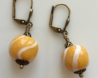 Yellow Striped Clay Earrings  Kazuri Earrings  Bohemian Earrings  Yellow Earrings  Leverbacks  Boho Earrings  Gypsy Dangles