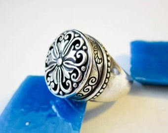 Ring 19C. Persian Antique Sterling, Granulated Large Signet, Pierce Work, Hallmarked.