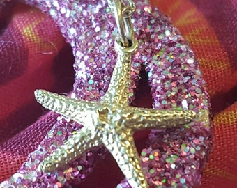 """14K Yellow Gold Starfish Necklace on 18"""" 14K Yellow Gold Chain (st - 1648)"""