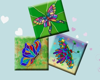 FUNKY BUTTERFLIES - Digital Collage Sheet 1 inch square images for pendants, earrings, scrap-booking, magnets etc. Instant Download #226.