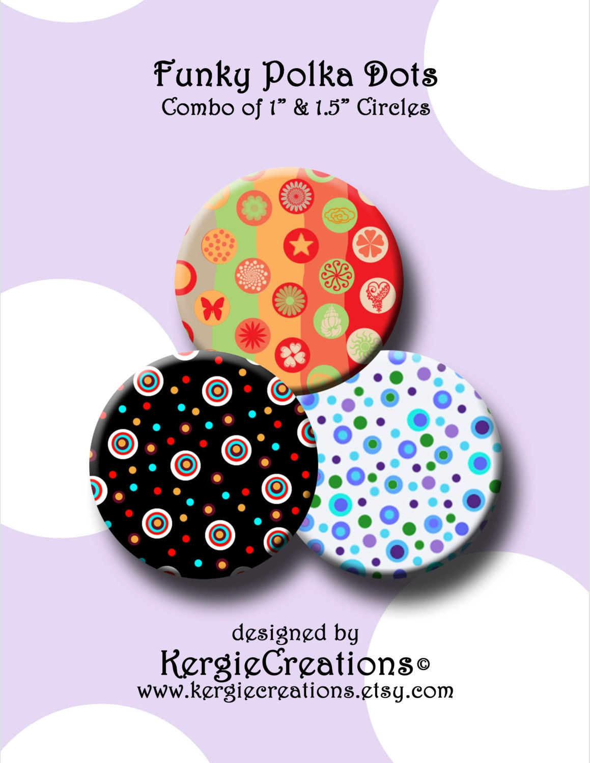 FUNKY POLKA DOTS - Digital Collage Sheet 1 &1 5 inch round