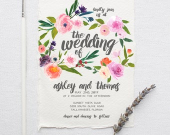 Watercolor Boho Wedding Invitation Suite DEPOSIT - DIY, Rustic, Chic, Garden, Calligraphy, Deckled Edge, Printable (Wedding Design #73)