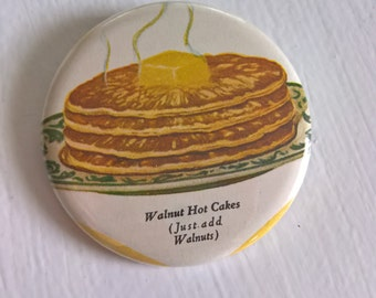 Delicious Hot Cakes Vintage Pinback Button --- Comfort Breakfast Foods Badge --- 1930's Butter Pancakes Style Accessory Pin Stocking Stuffer