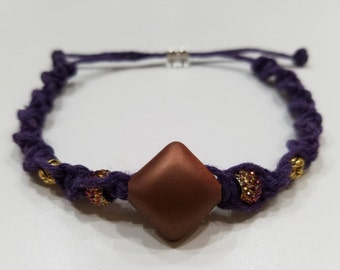 Purple Macrame Bracelet with Brown Metallic Center and Various Beads