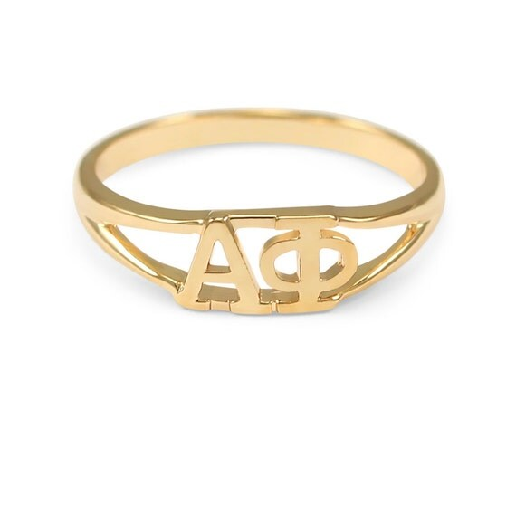 alpha phi gold plated ring sorority jewelry