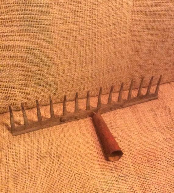 Vintage rake head, vintage rake decor, vintage craft ideas, rustic rake head, industrial wall decor