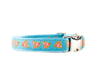 Pizza Dog Collar - Foodie Aqua Turquoise Adjustable Metal Buckle or Plastic Buckle Dog Collar