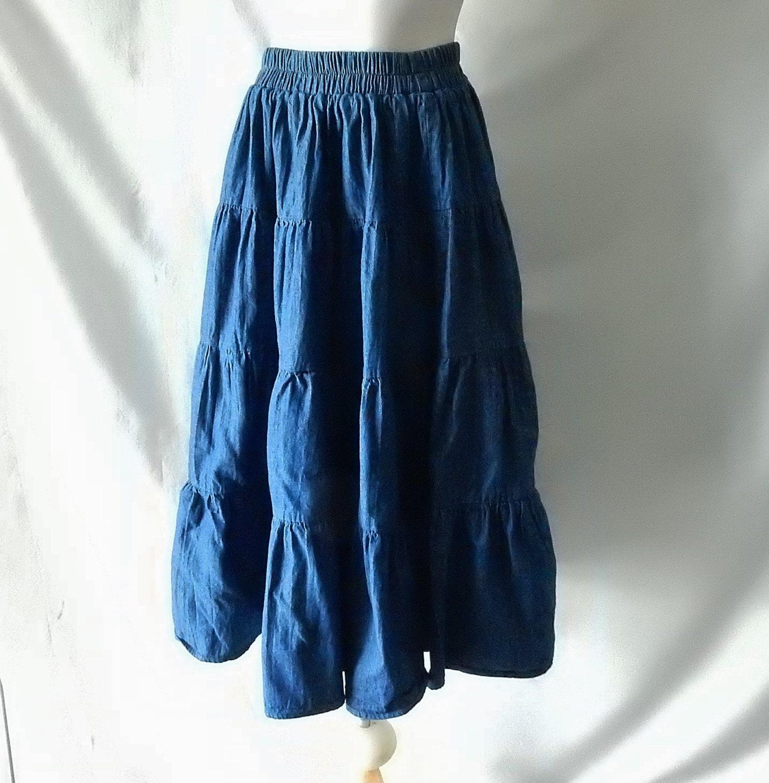 sz s western denim skirt elastic waist dungaree blue jean