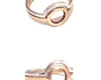Sun & Moon Stacking Rings, Silver and Gold