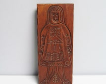 Vintage wooden hand carved cookie mold, Springerle Cookie Mold, male, country kitchen decoration, wood mold, speculoos, rustic decoration