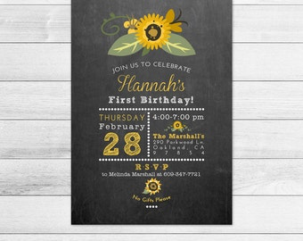 Chalkboard and Sunflower Birthday Party Invitation, Printable Digital Invite File, Subway Style, First Birthday