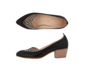 Leather shoes Women's Pumps black patent leather with Houndstooth and chunky heels Criss cross Pointed Toe ADIKILAV ON SALE 30%
