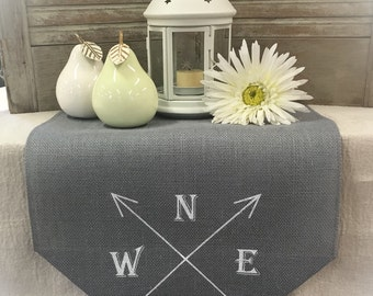 "Grey Burlap Table Runner 12"" or 14"" wide with a compass and arrows on each end - compass rose, aztec arrows, compass theme, arrows"