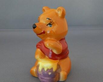 Vintage DISNEY JAPAN Winnie the Pooh Figurine, Winnie the Pooh Honey Pot Porcelain Handpainted Figurine, Kitsch Mid Century Japan Disneyana
