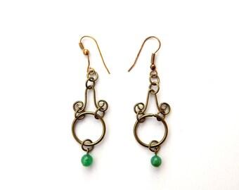 Vintage Brass Wire Filigree Green Art Glass Drop Earrings, Long Dangle Earrings Victorian Style