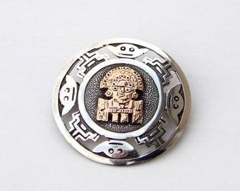 Vintage Aztec Mayan God Sterling Silver 925 18K Gold Peru Pin Pendant, Viracocha Diety Peruvian Brooch Pendant, Aztec Tribal Mask Pin Peru