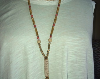 Mala Inspired Carved Necklace