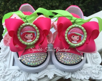 STRAWBERRY SHORTCAKE SHOES - Crystals - Strawberry Shortcake Birthday - Strawberry Shortcake Costume Pink Converse shoes Sizes 2-13