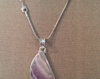Amethyst Lace Gemstone Pendant Necklace in 925 Sterling Silver