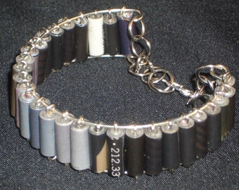 Shades of Gray Recycled Paper Bead Boho Memory Wire Bangle Bracelet