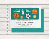 Kids sports birthday party invitation, sports themed birthday party invites printable, boy or girl, green, blue & orange, soccer, basketball