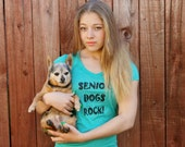 Dog t-shirt women - Senior Dogs Rock in green - PLUS sizes available - ON SALE - supports rescue