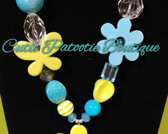 lime green, turquoise necklace