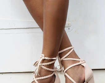 Ladies Nude Leather Block Heels, Wedding Shoes, Plaited Ties, Bohemian Bridal Shoe, Designer Shoes, Wedding Heels, Style: Peace & Love Blush
