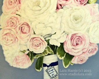 Custom Wedding Bouquet Painting in OIL by LARA 8x10