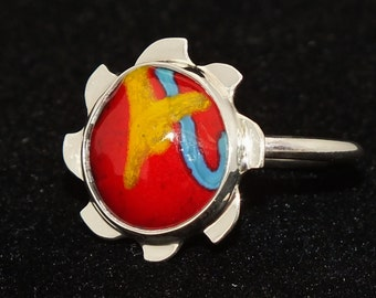Sterling silver ring, Enameled Cabochon, Size 9.5, Red ring, Free Shipping, Hand Made USA, Alpha ring