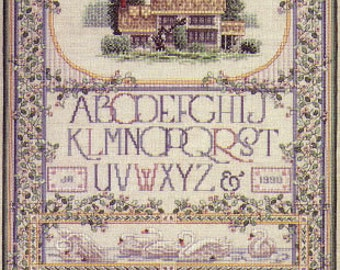 Just CrossStitch English Cottage Sampler Teresa Wentzler Counted Cross Stitch Pattern Charted Design Needlework Pattern Rare Out of Print