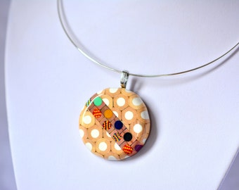 Smaller ring pendant necklace from colored pencils