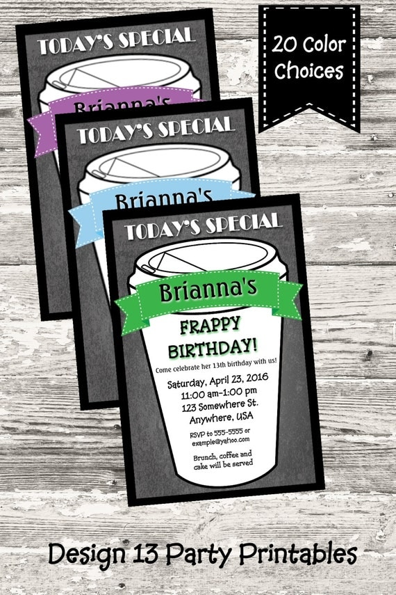 20 Choices Of Red Sofa Chairs: 20 Color Choices Chalkboard Coffee Party Invitation With
