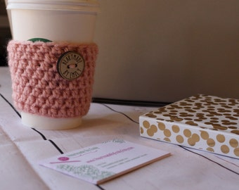 Pink Coffee Cozy ~ Pink Crochet Coffee Cozy ~ Pink Coffee Cozy