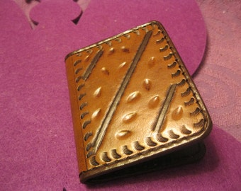 BROWN  LEATHER WALLET for Folded Money