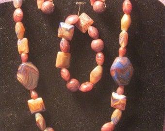 BROWN BLUE CREAM Marbled Stone Jewelry Set