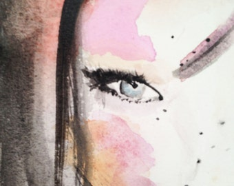 Print of the original watercolor painting 'Into Sophie's eyes'