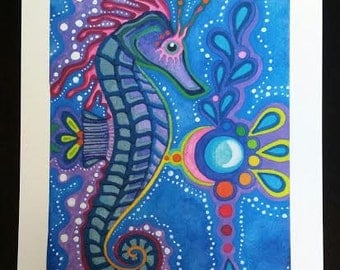 Space Seahorse Visionary Art Print Touched Up Watercolor Painting