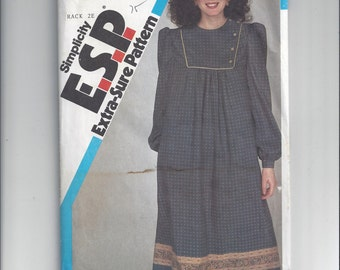 Simplicity 6072 Pattern for Misses' Loose Fitting Pullover Dress, ESP, Extra Sure Pattern, Sz 16-20, Factory Folded, Uncut, Vintage Pattern