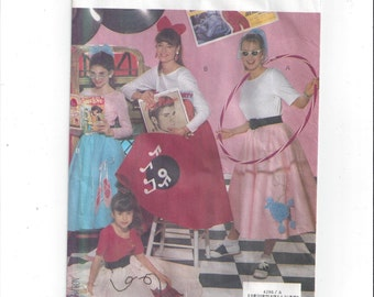 Butterick 4286 Pattern for Misses' Poodle Skirt & Top, Sizes Small to Large, From 1989, Halloween or Drama Costume Patterns, Vintage Pattern
