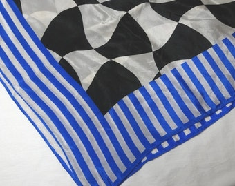 1970s Vintage Silk Scarf by The Specialty House, Stylized Checkerboard with Blue Stripes, 31 x 29.5 In., Made in Japan, Vintage Silk Scarf