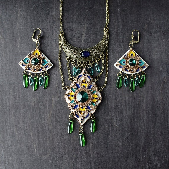 Set of jewelry with green swarovski, white pendant & earrings,  Indian green jewelry