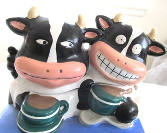 Two  Ridiculous  COWS  Serving COWBUCKS COFFEE  at Coffee Bar    Cookie  Jar